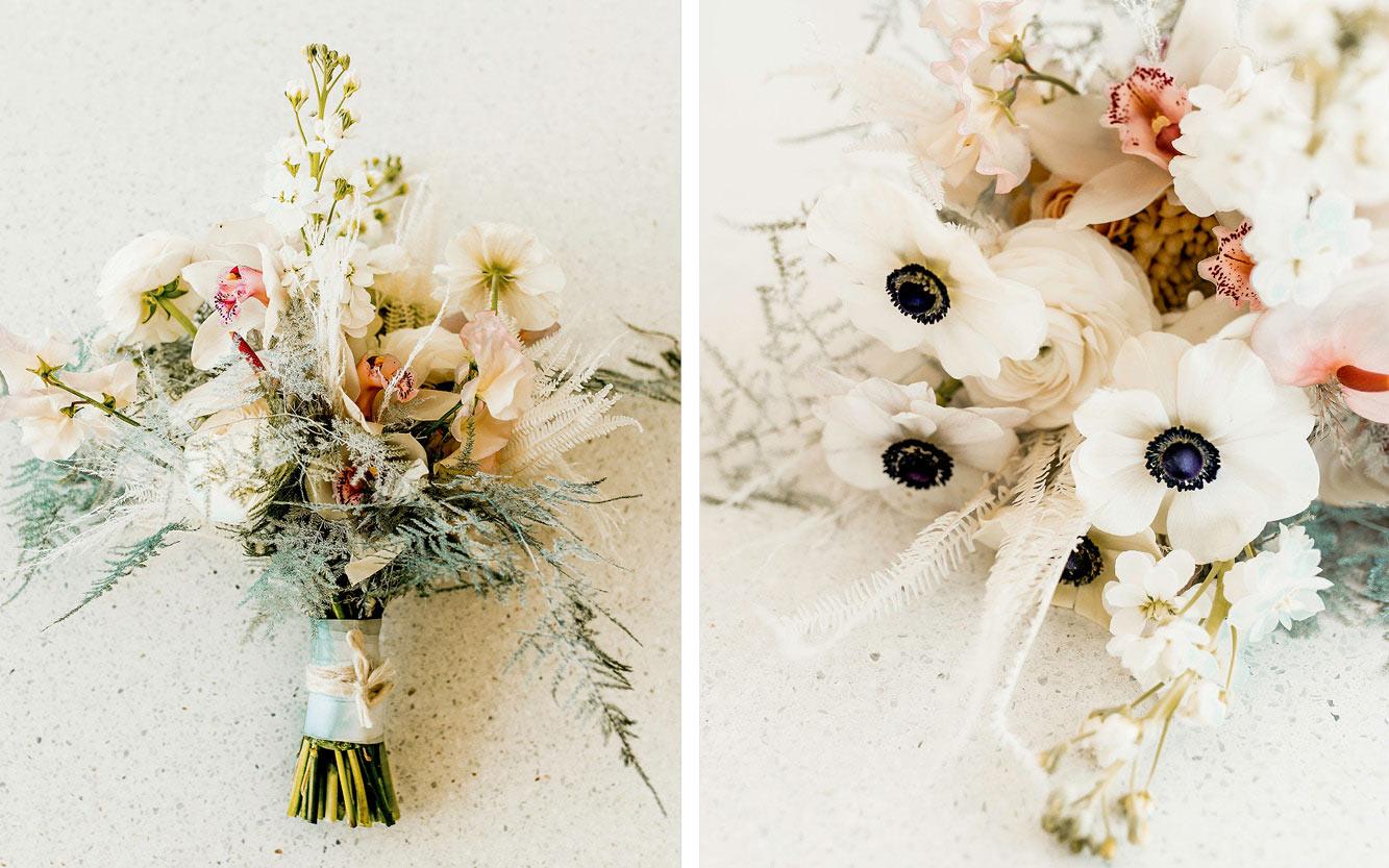 Brautstrauß mit Anemonen, Orchideen, Pampasgras
