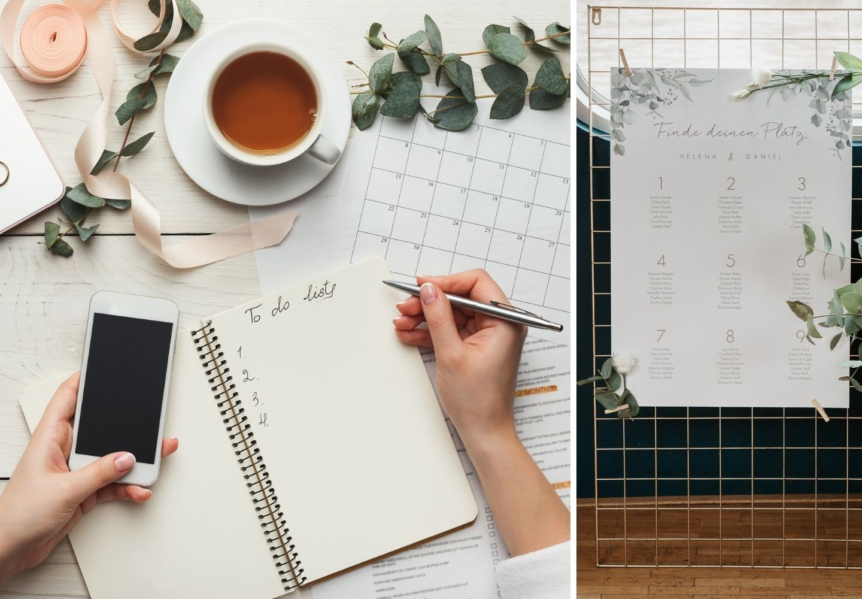 Auf einem Tisch liegen alle Utensilien wie Stift, Papier und Checklisten bereit, die für die Planung der perfekten Gästeliste und Sitzordnung benötigt werden.