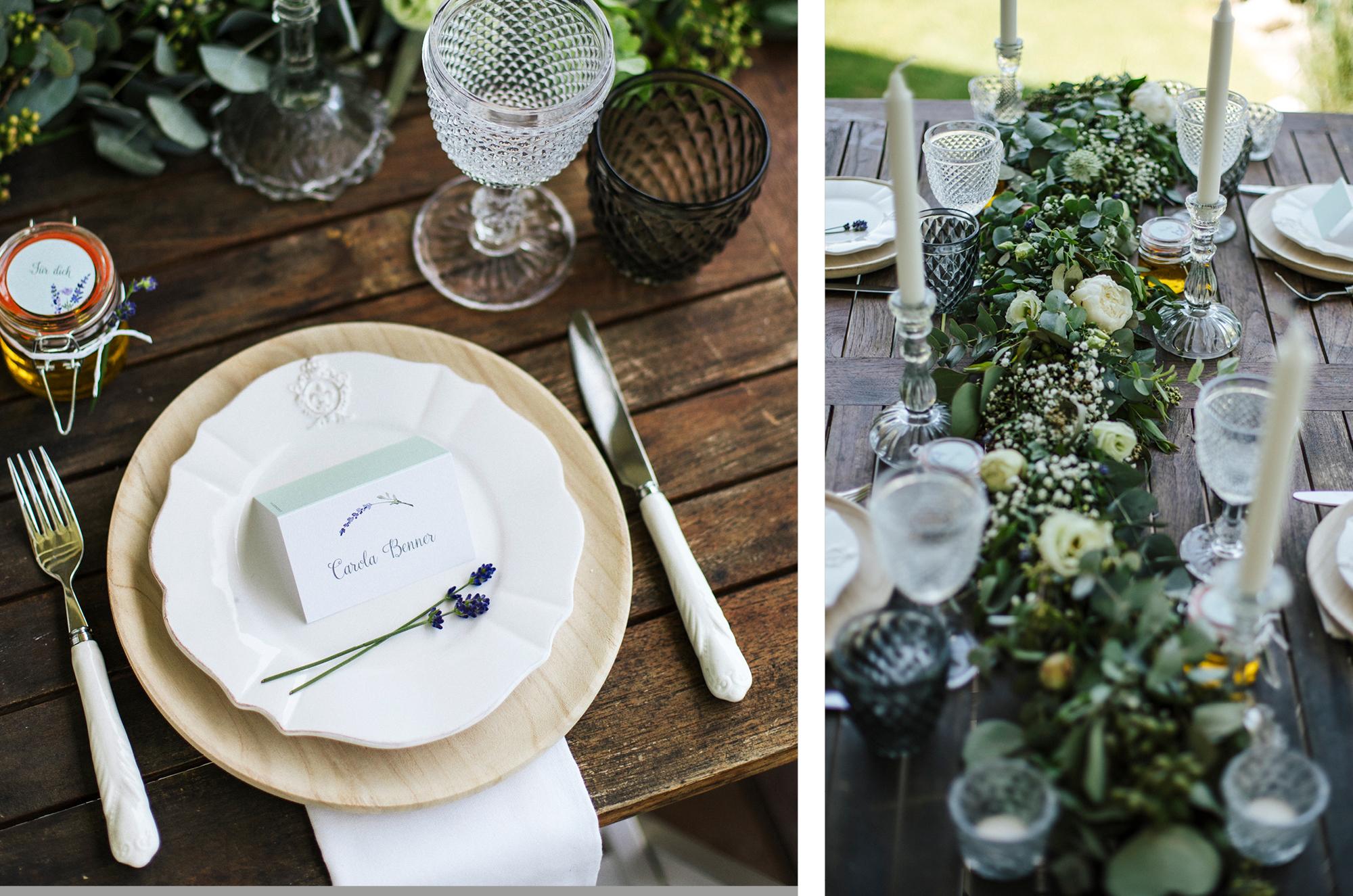 Tischdekoration im nachhaltigen Greenery Look mit Papeterie.