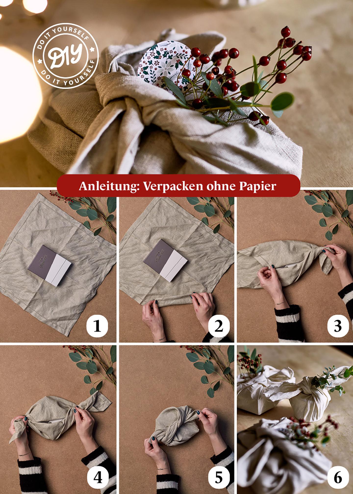 Schritt für Schritt Anleitung für das DIY: Geschenkverpackung basteln ohne Papier und Plastik