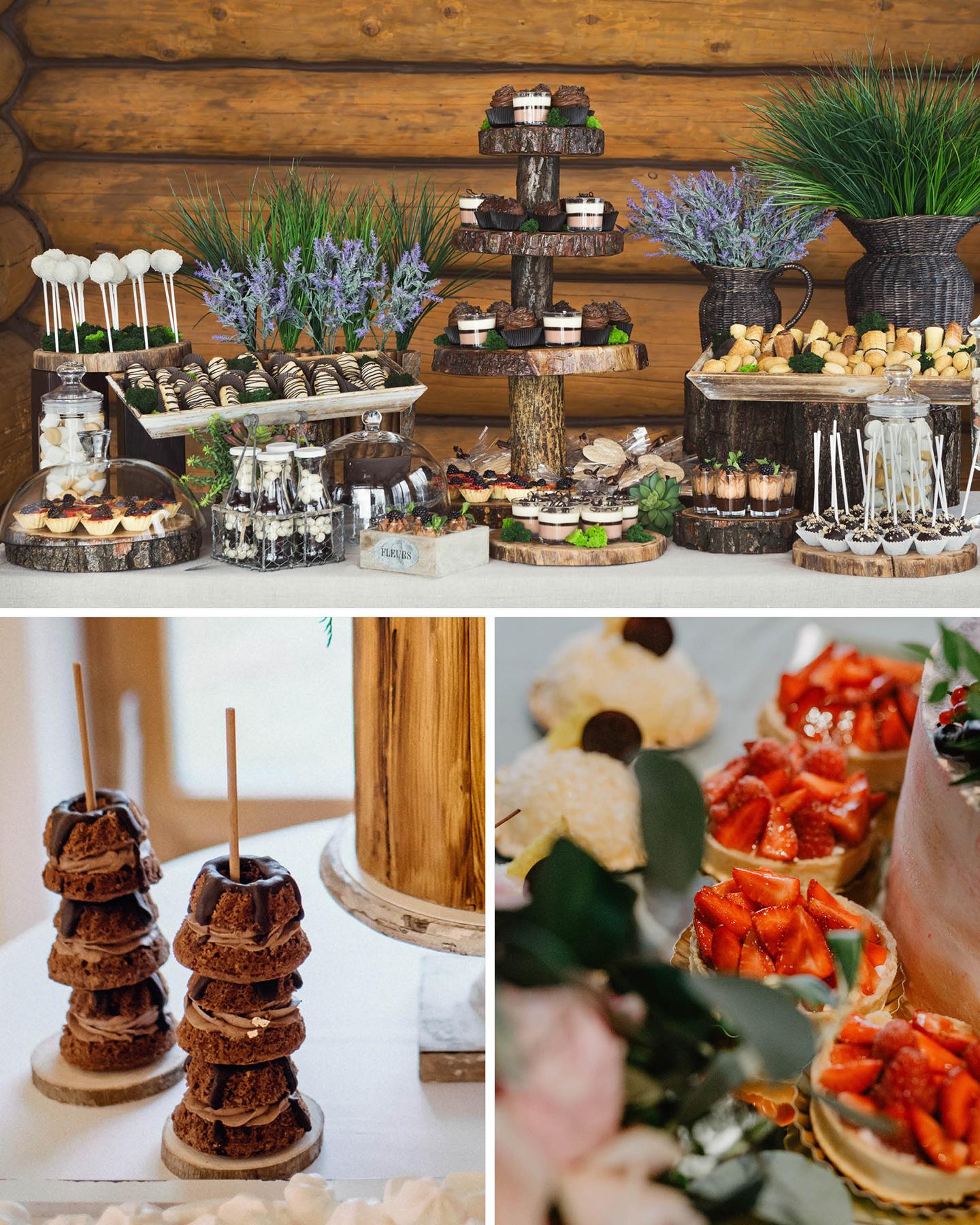Sweat Table mit einer Vielzahl an süßen Leckereien. Detailaufnahmen von kleinen Kugelhupf Küchlein am Stiel und Erdbeer-Tartelettes