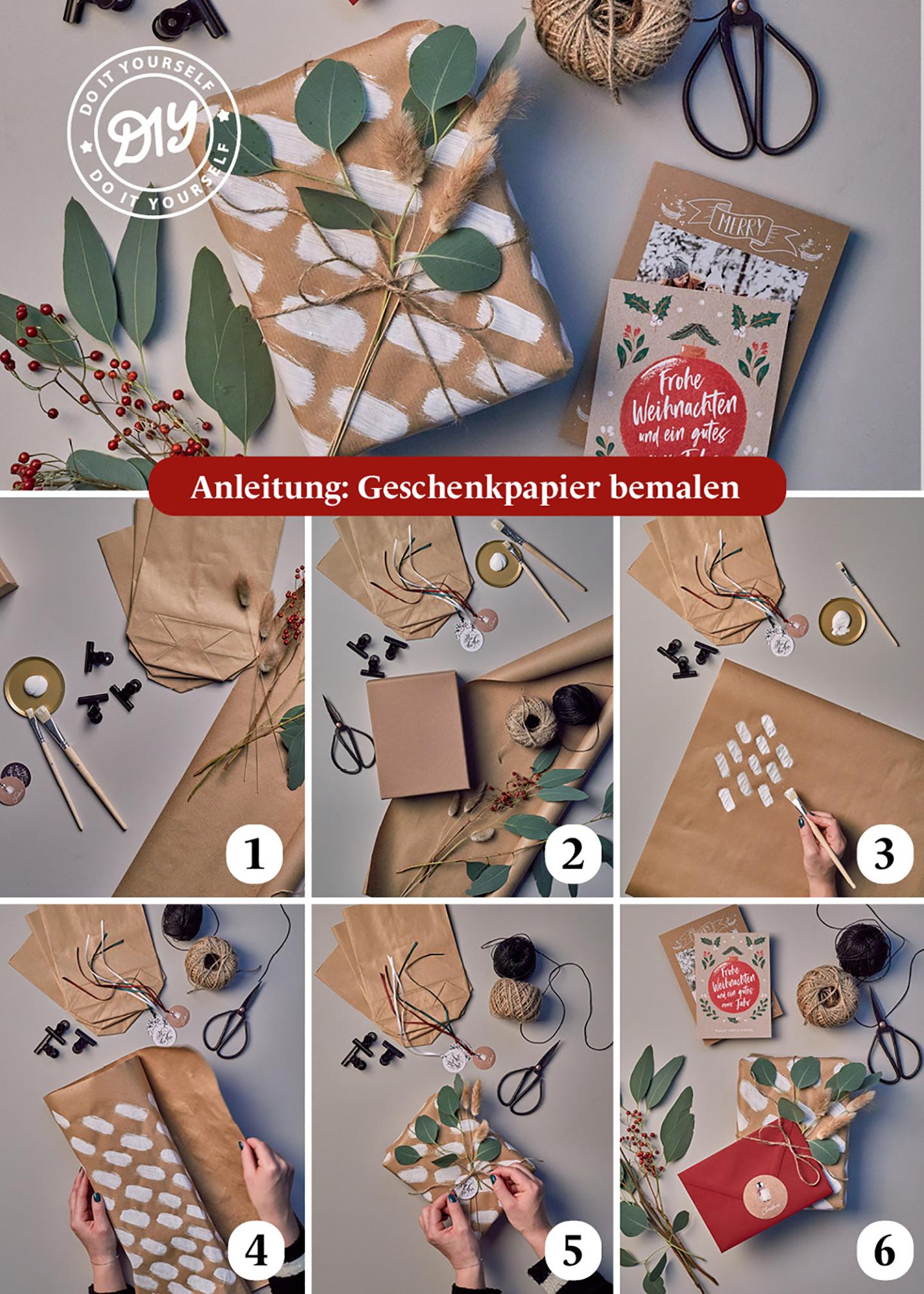 Schritt für Schritt Anleitung für eure Geschenkverpackungen zum selber basteln & bemalen. Es wird erklärt, wie Geschenkpapier  verschönert werden kann.
