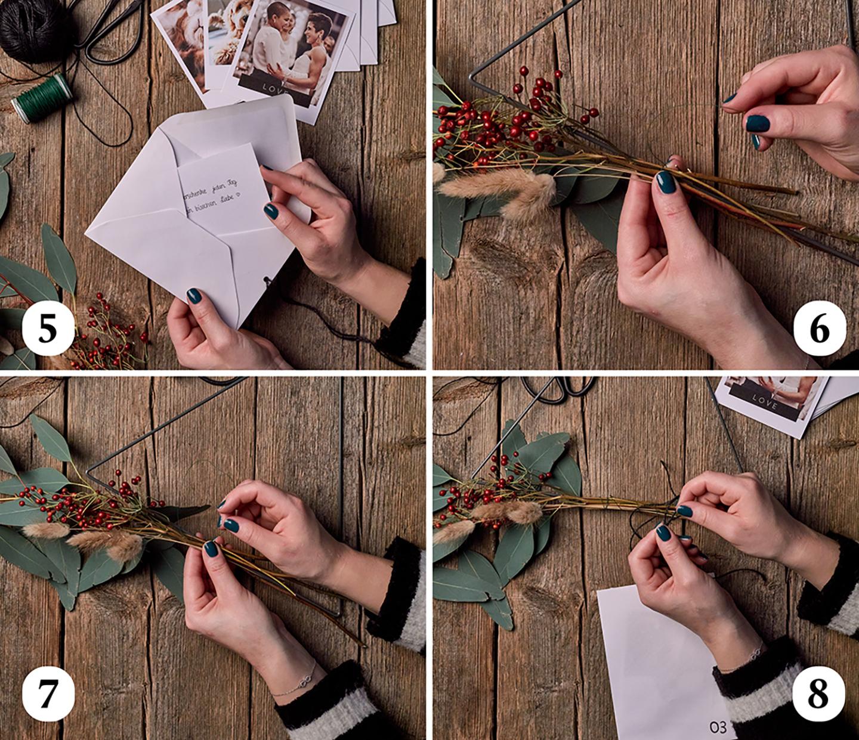 Blumen werden an Metall-Dreieck für Adventskalender gebunden.