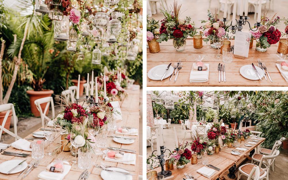 Collage mit gedeckten Hochzeitstafeln