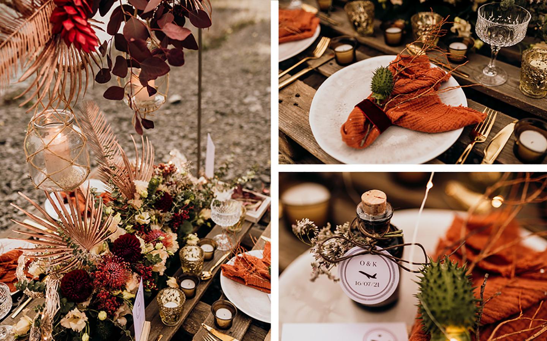 Die Tischdeko in Rot, Orange, Rost- und Beigetönen sowie die Papeterie sieht wudnerbar geordnet und perfekt drapiert aus
