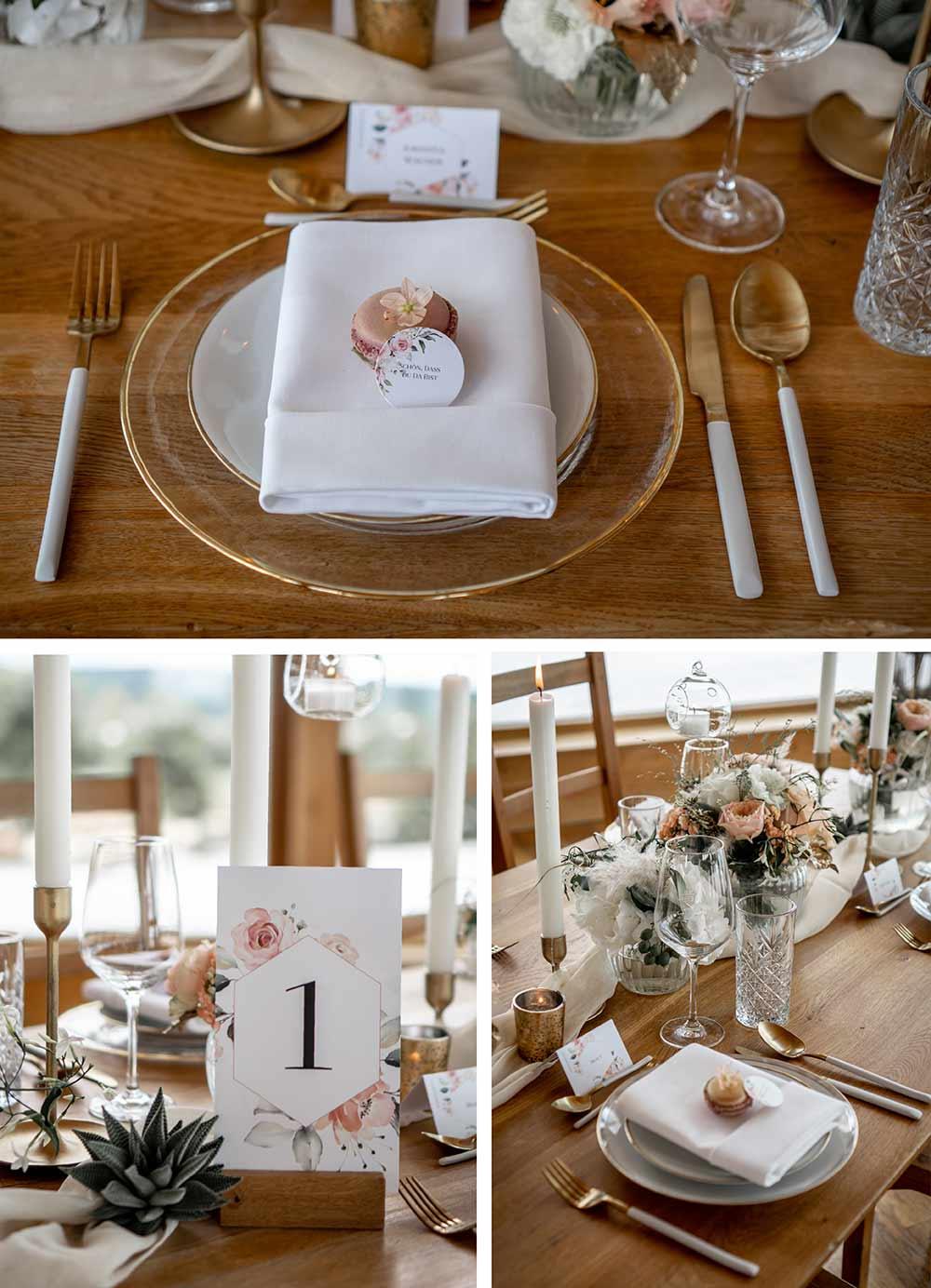 Tischnummer, Namenskarte und Gastgeschenk zeigen jedem Gast stilvoll seinen Sitzplatz.