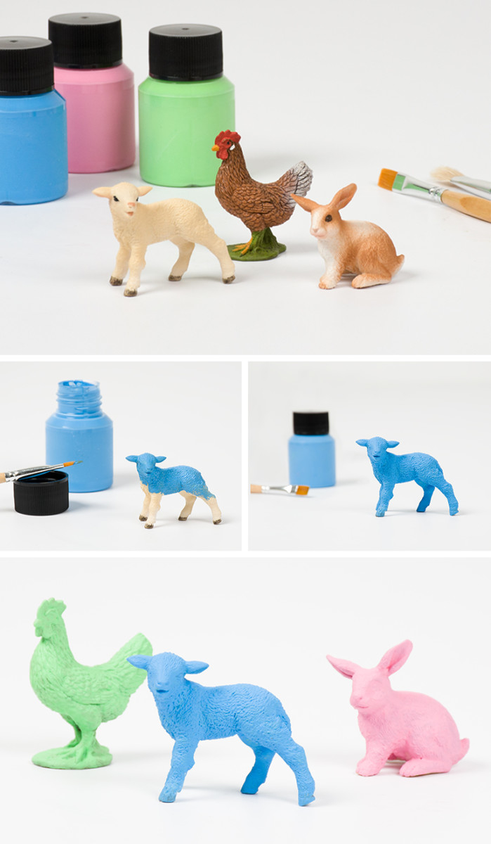 Niedliches Upcycling: Farbig lackierte Schleich Tiere