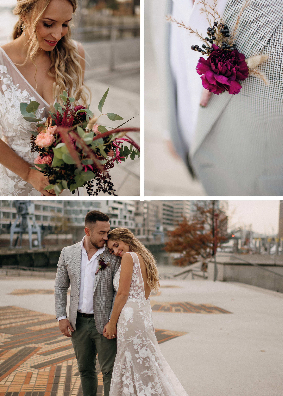 Hochzeit in der Stadt, Brautpaar in der Hafencity
