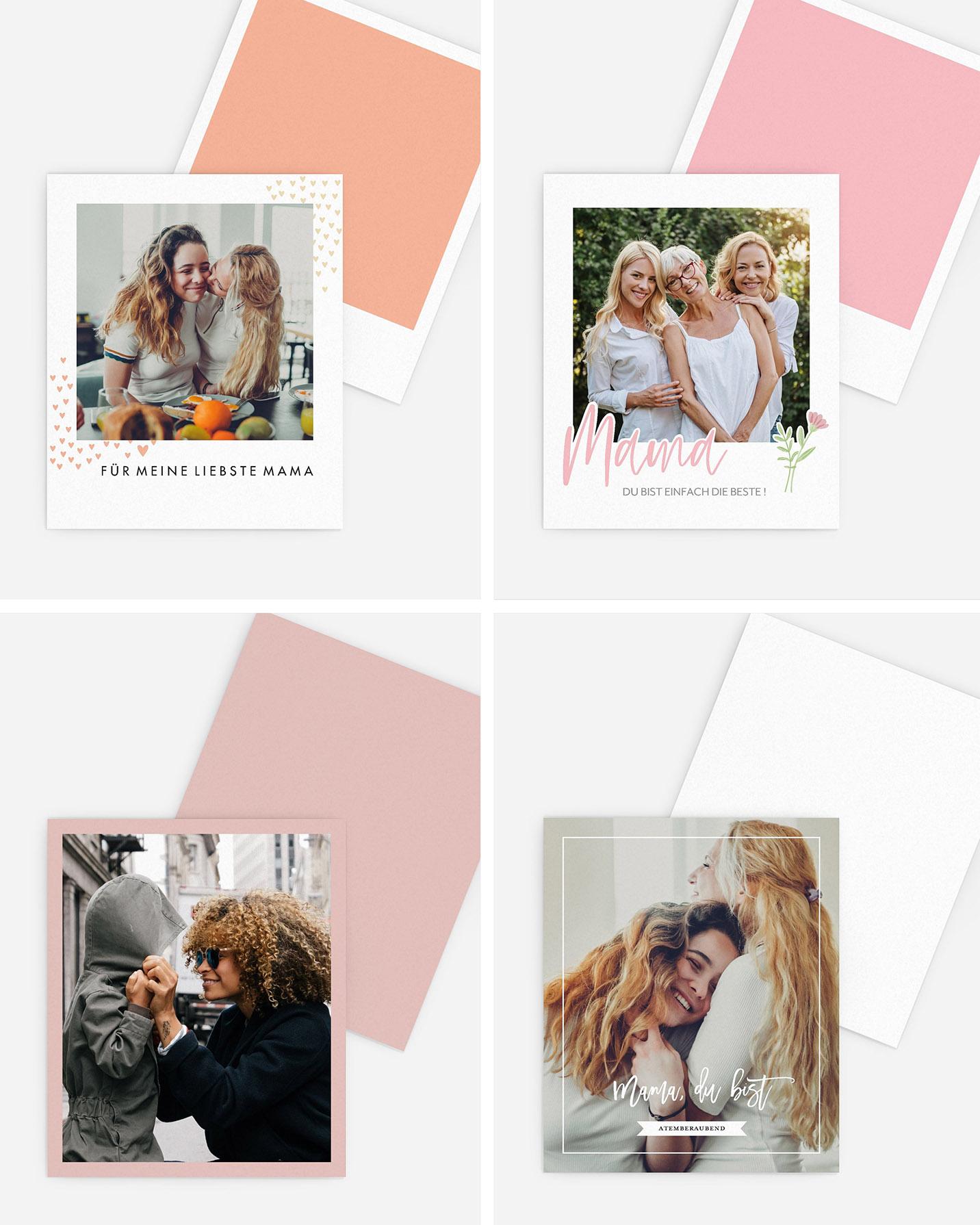 Collage aus mehreren Retro-Bildern zeigt lachende Mütter & Töchter. Süße Geschenkidee zum Muttertag.