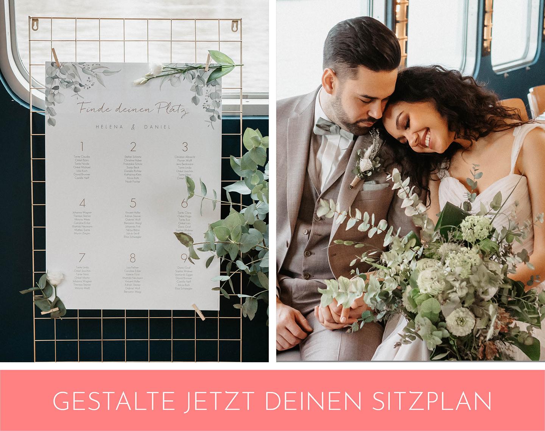 Aufgestellter Sitzplan in der Hochzeitslocation.