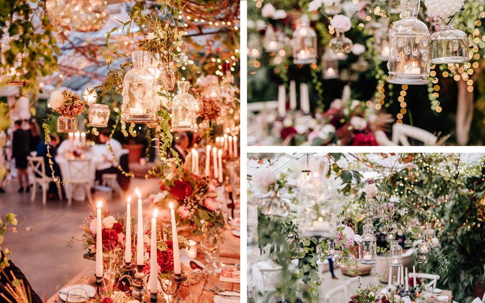 Collage aus Hochzeitstischen