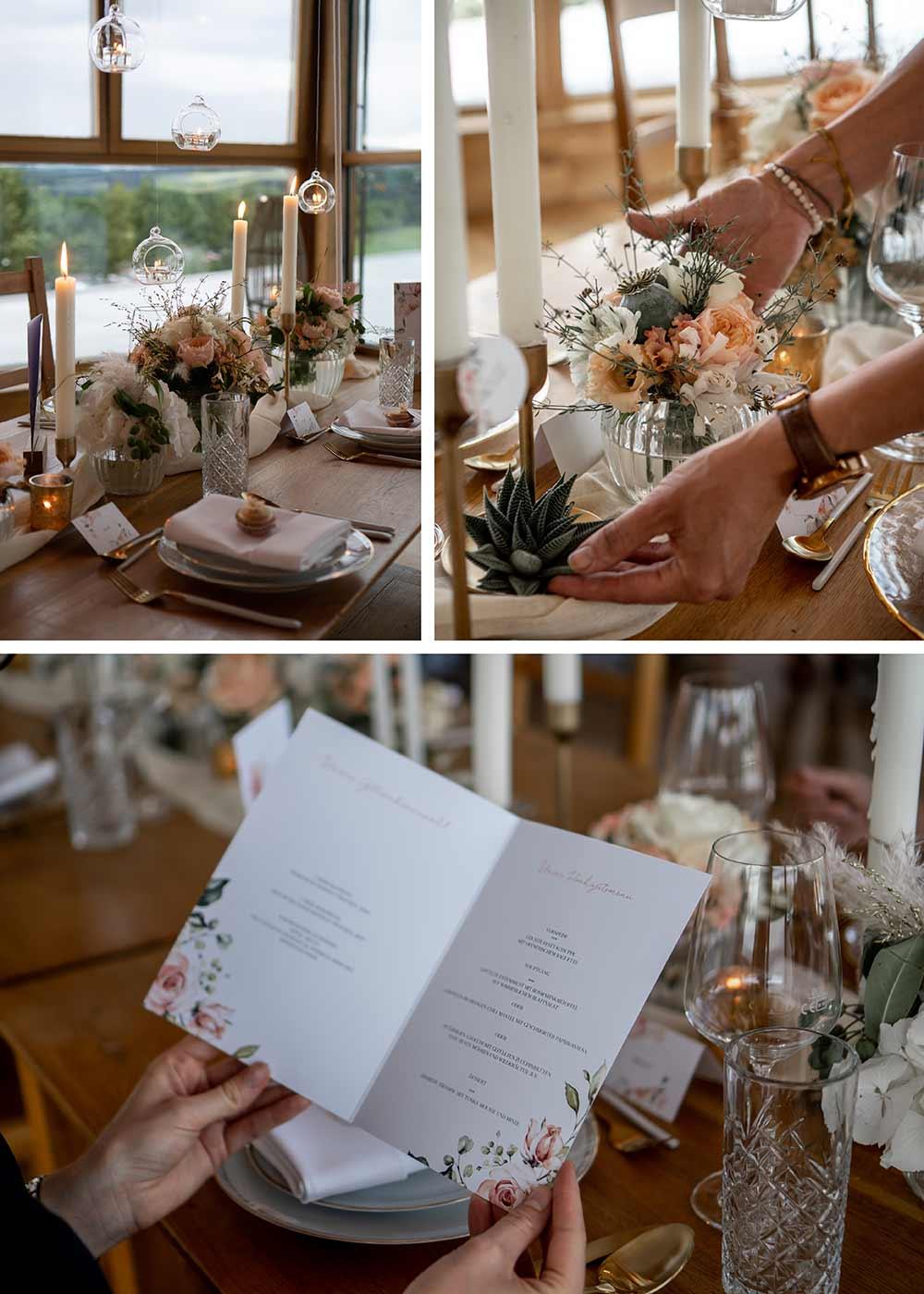 Das personalisierte Hochzeitsmenü zeigt den Gästen, welche Speisen sie erwarten.