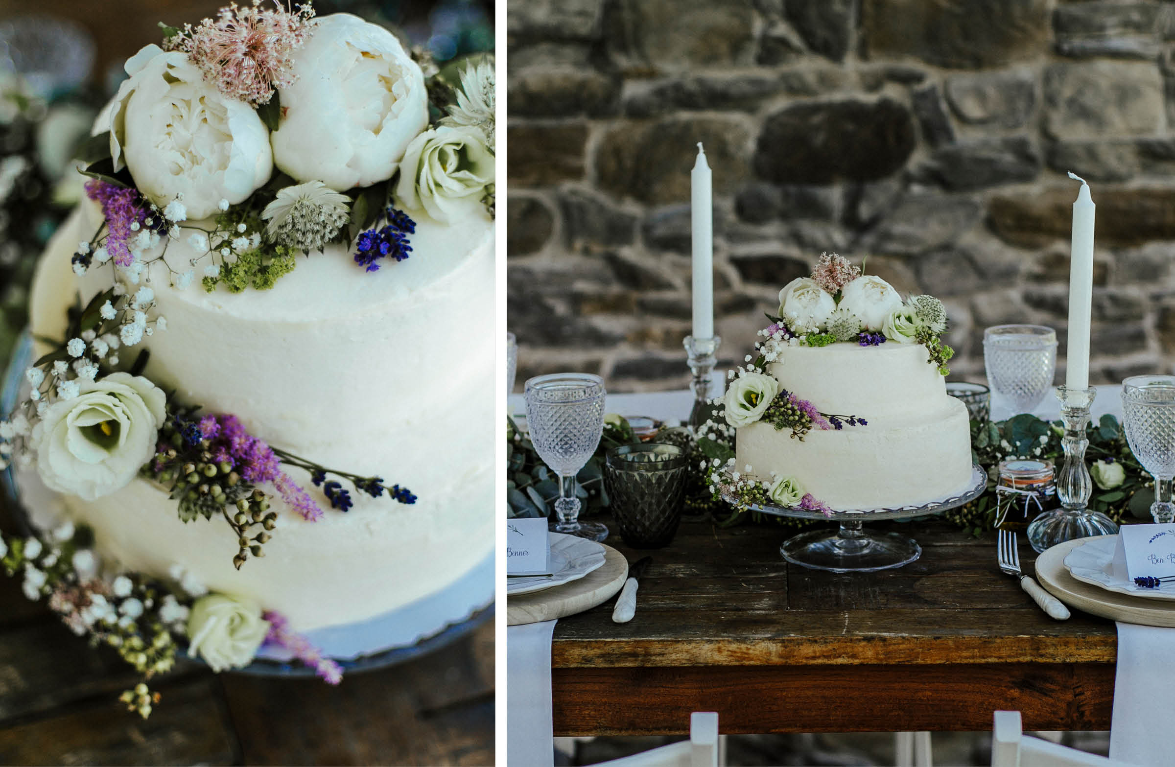 Hochzeitstorte mit Buttercreme, verziert mit verschiedenen echten Blumen