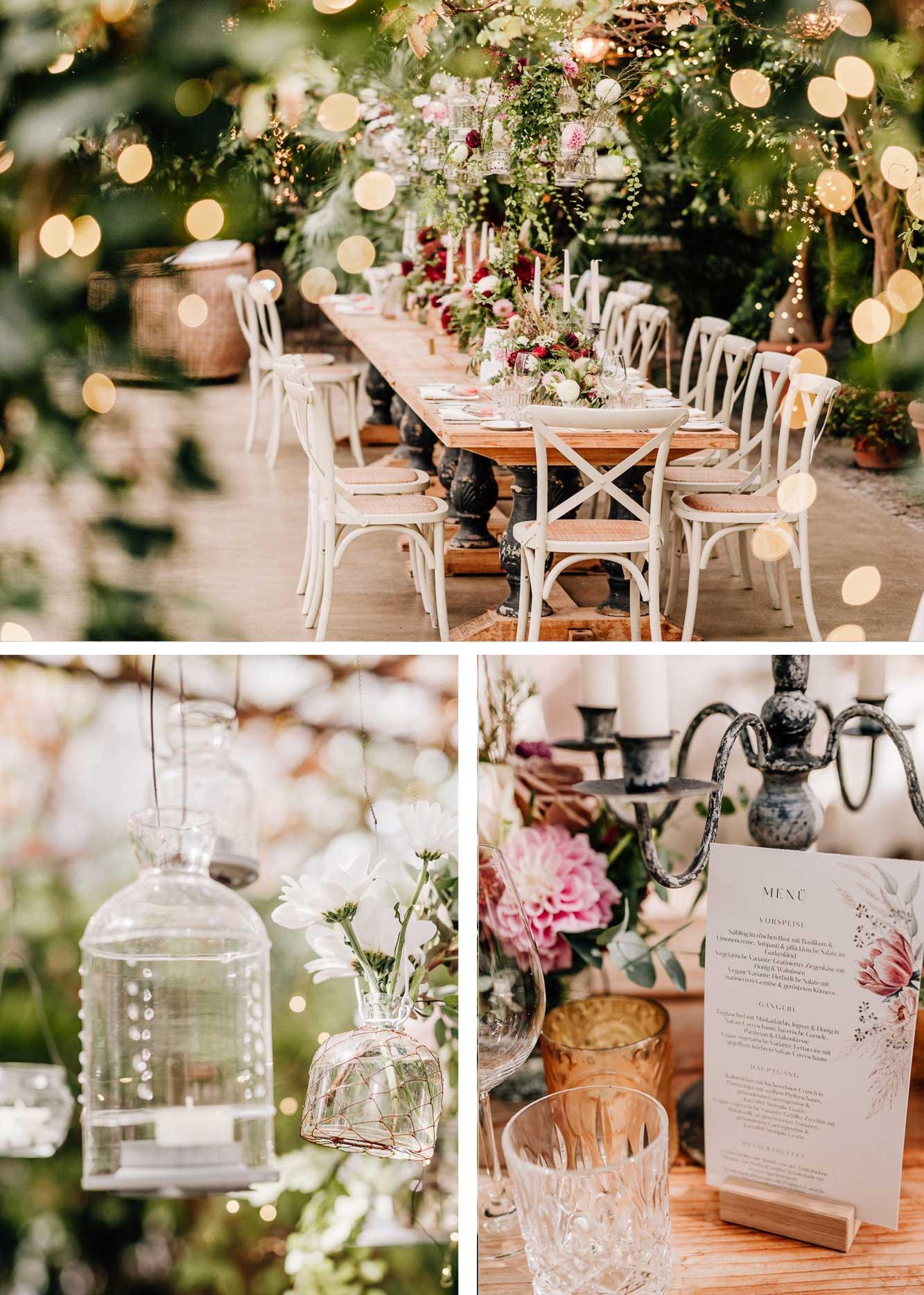 Dekoration kleine Hochzeit im Gewächshaus, Hochzeitstisch, Lampions, Einweggläser