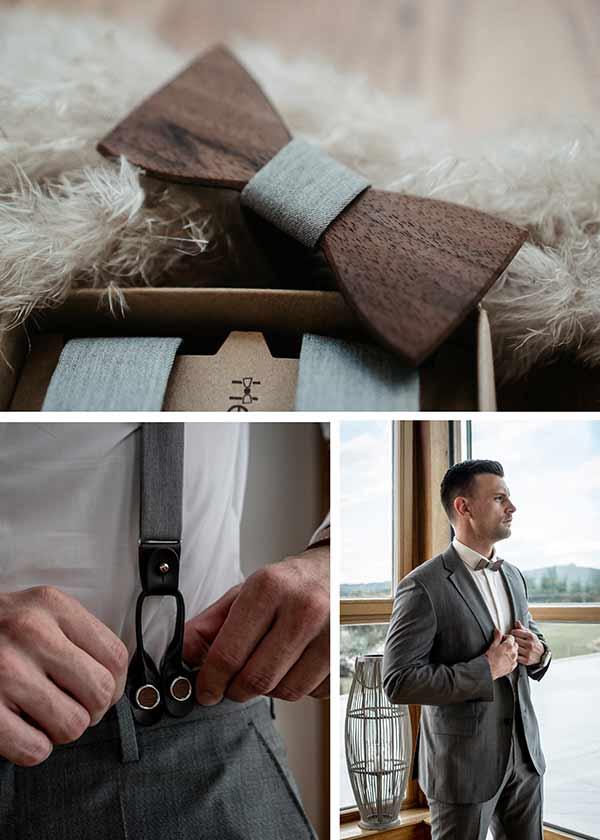 Details für den Bräutigam: Holzfliege und Hosenträger.