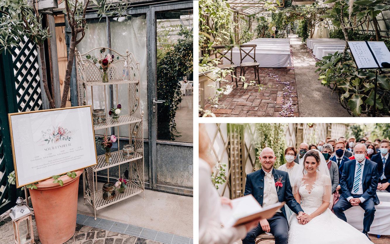 Kleine Hochzeit im Gewächshaus