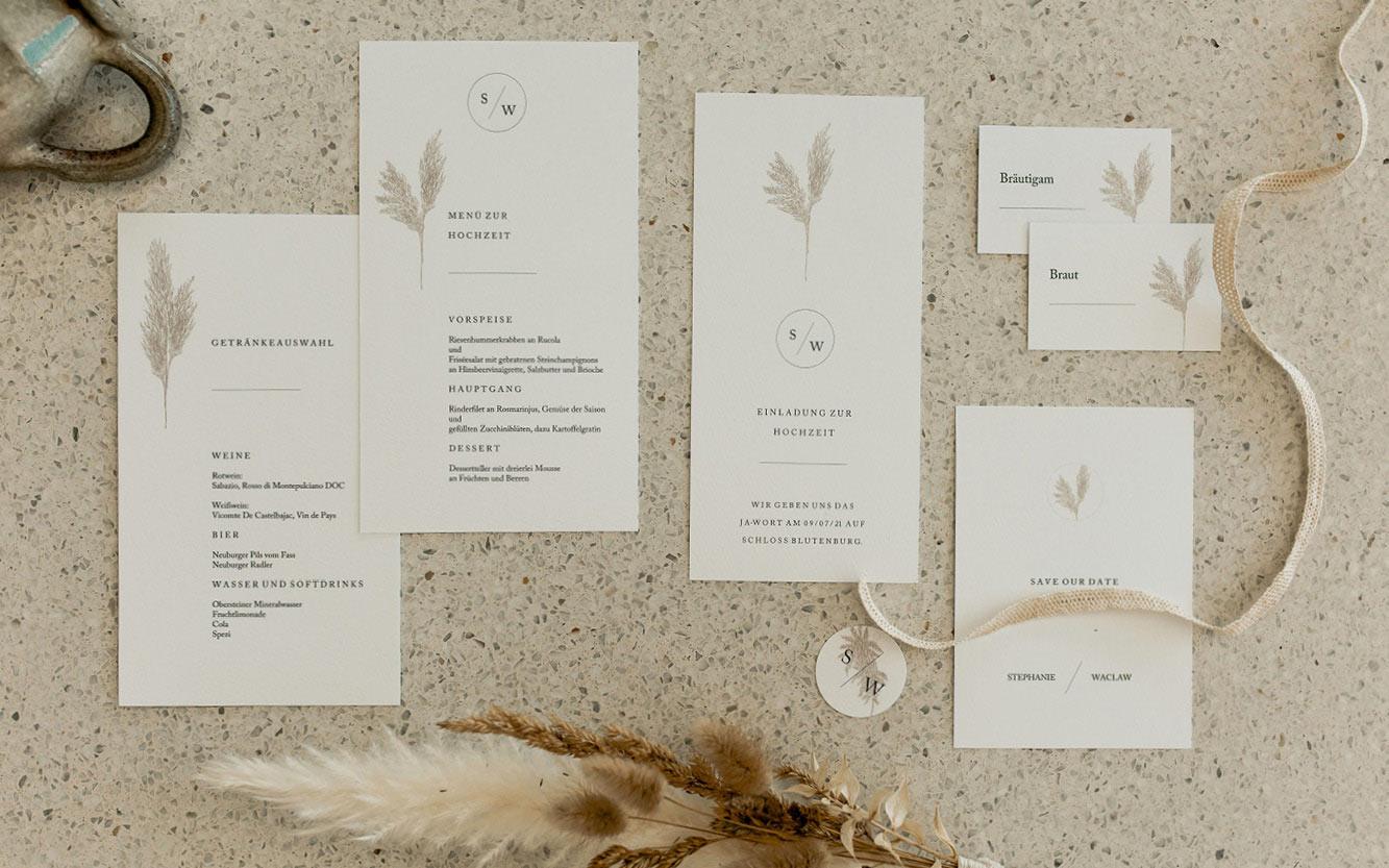 """Hochzeitspapeterie """"Scandi Pampas"""" mit Einladungskarte, Menükarte, Tischkarten, Save the Date"""