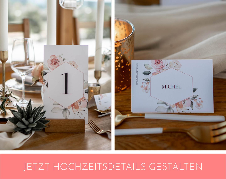 florale Hochzeitspapeterie wie Tischkärtchen und Tischnummer zieren die Hochzeitstafel