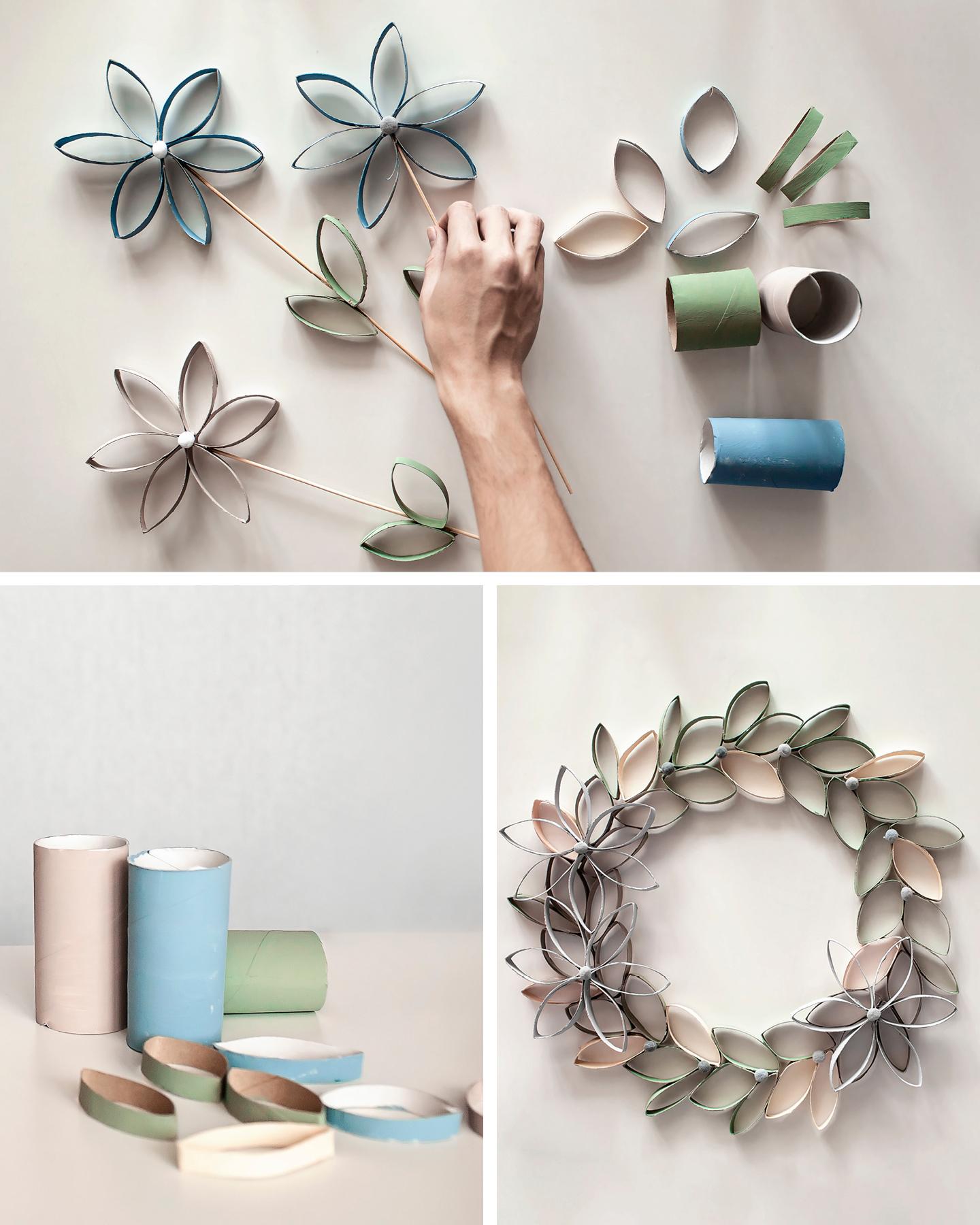 Aus Klopapierrollen wurden Streifen geschnitte & zusammengeklebt, so dass Blumen als Bastelidee zu Ostern entstanden sind.
