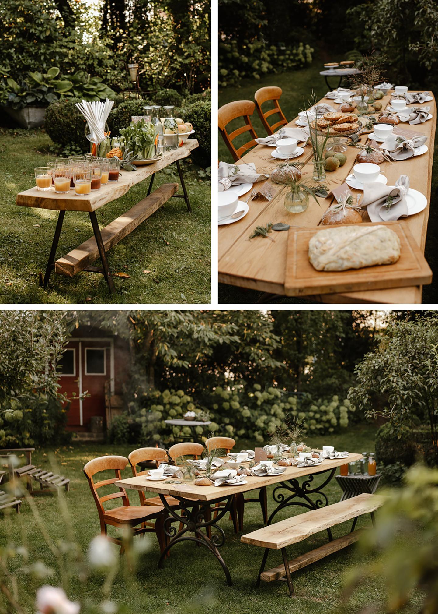 Zu sehen ist der Hochzeitstisch aus unterschiedlichen Perspektiven. Auf dem Tisch befindet sich für jeden Gast ein gedeckter Platz, minimalistische Deko in grün und Naturtönen sowie Tischpapeterie.