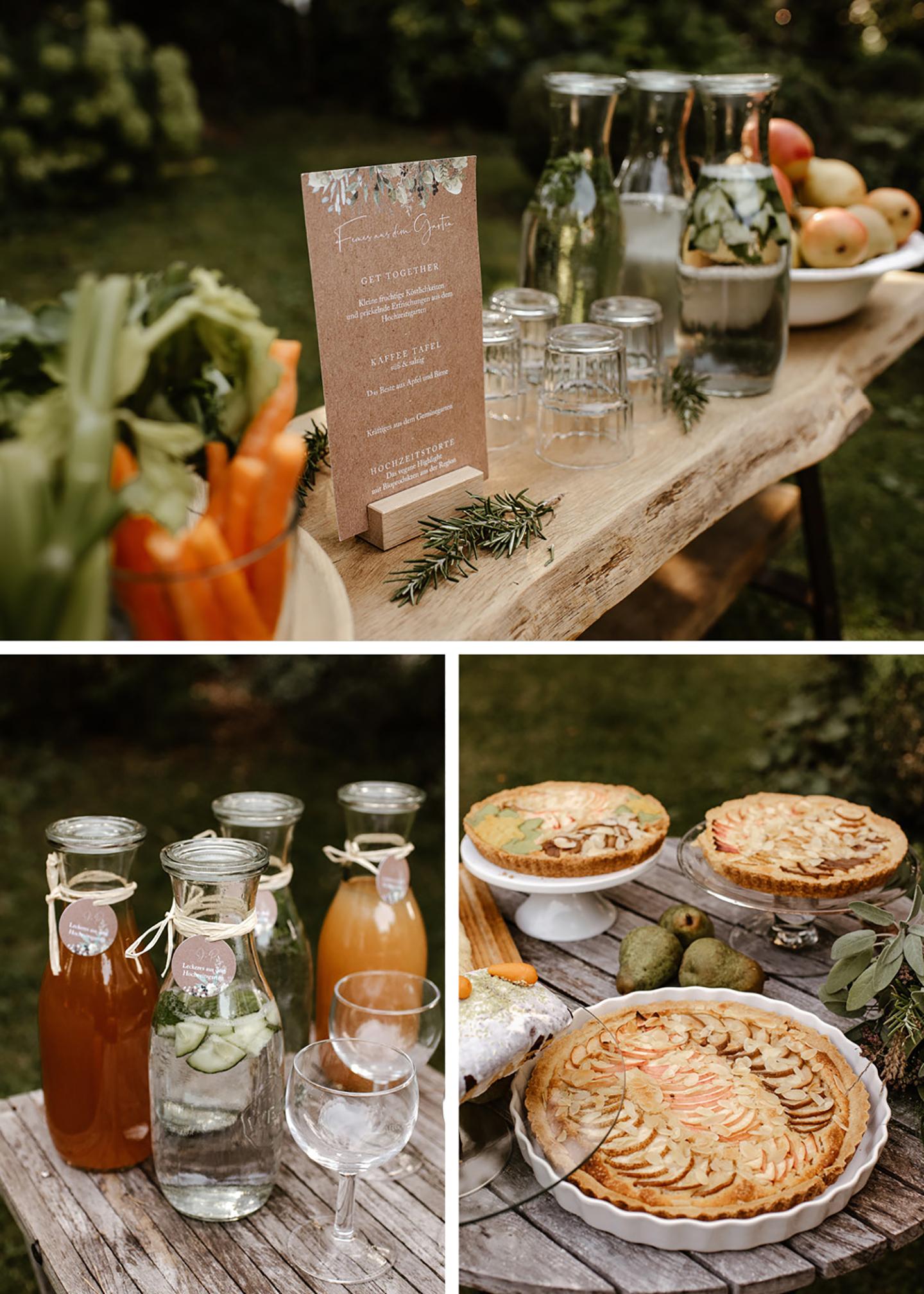 Das Kuchenbuffet sowie eine Saftbar befindet sich in der Nähe des Hochzeitstisches. Das Buffet ist von hier aus von allen gut zu erreichen. Zu sehen ist, wie die Speisen und Getränke liebevoll drapiert wurden.