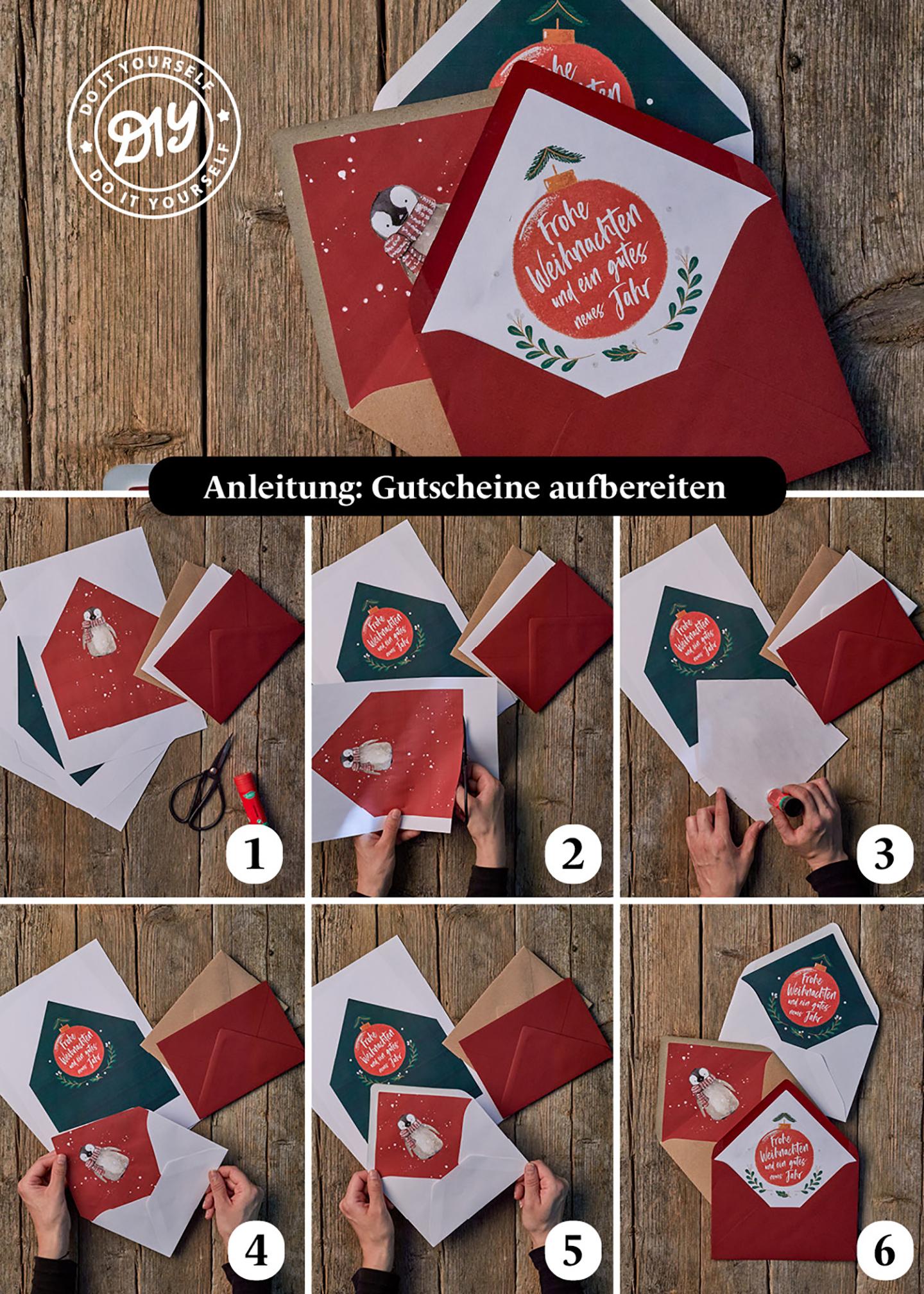 Anleitung für das richtige Verpacken eines wundervollen Gutscheins zu Weihnachten. Schritt für Schritt Anleitung, um die Liebsten zu überraschen.