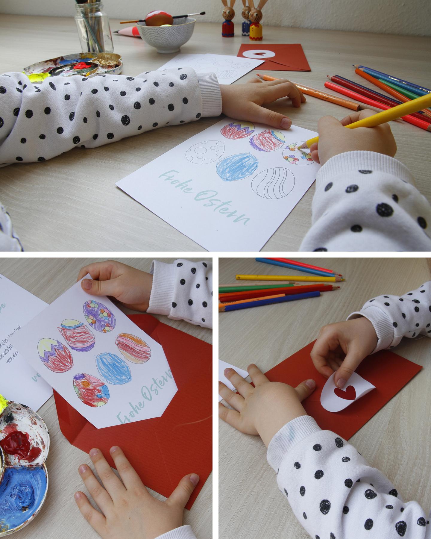 Ausmalkarten Basteln zu Ostern: Kind malt Osterkarte mit Buntstiften aus.