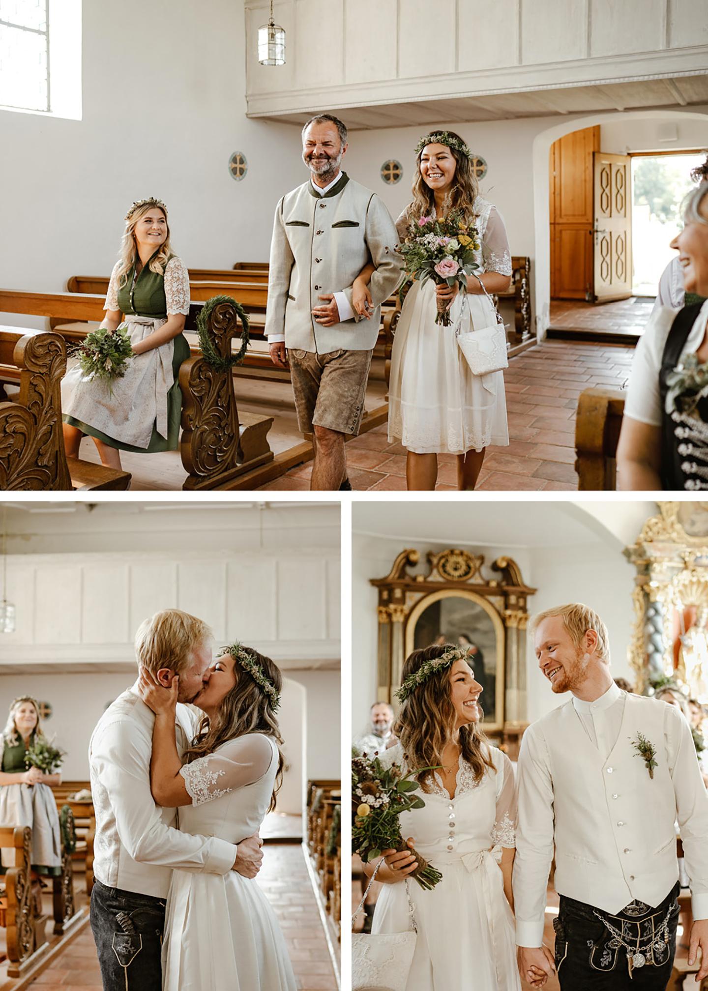 Der Vater der Braut führt sie in die Kirche. Die Gäste schauen gespannt zu und die Braut strahlt. Vorne wird sie von ihrem Bräutigam erwartet und die beiden verlassen nach der Trauung die Kirche.