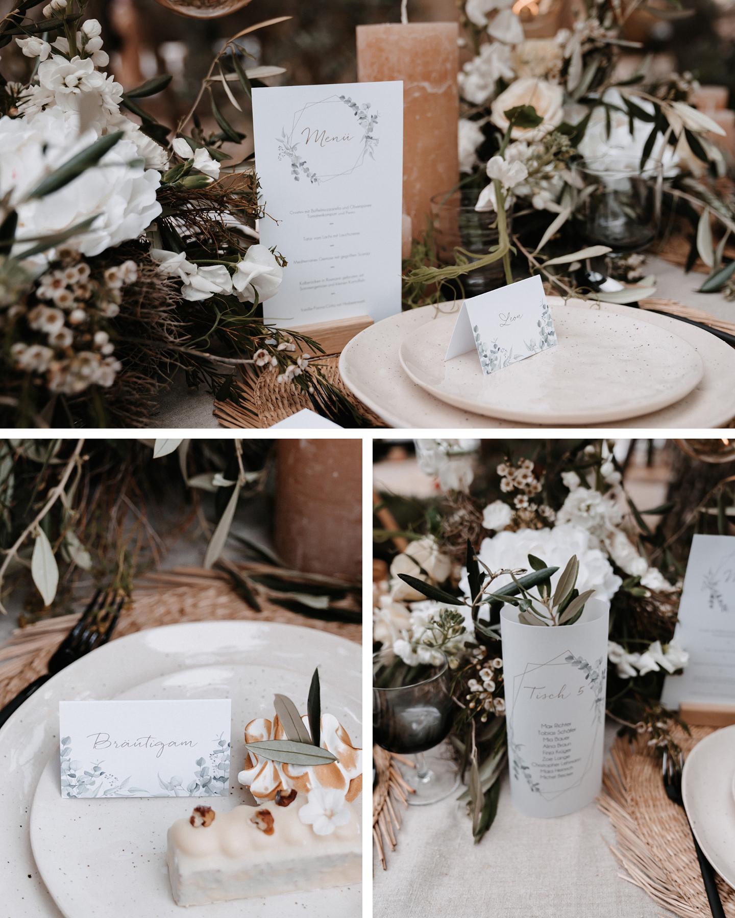 Menükarte, Tischkarte, Namenskarte mit Eukalyptus Illustrationen stehen auf der im Boho Greenery Stil dekorierten Hochzeitstafel.