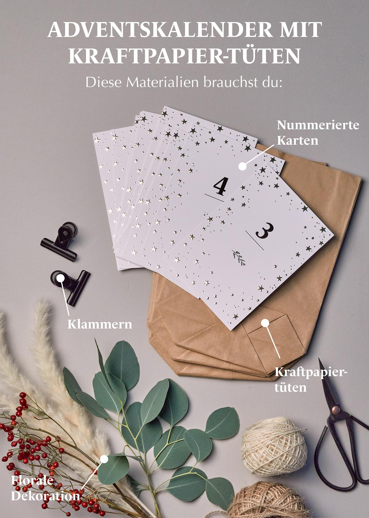Adventskalender Basteln mit Weihnachtskarten mit Goldfolie und Kraftpapier-Tüten