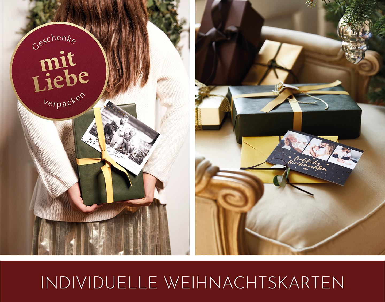 Individuelle Weihnachtskarten personalisiert mit LIeblingsfotos und Goldfolie.