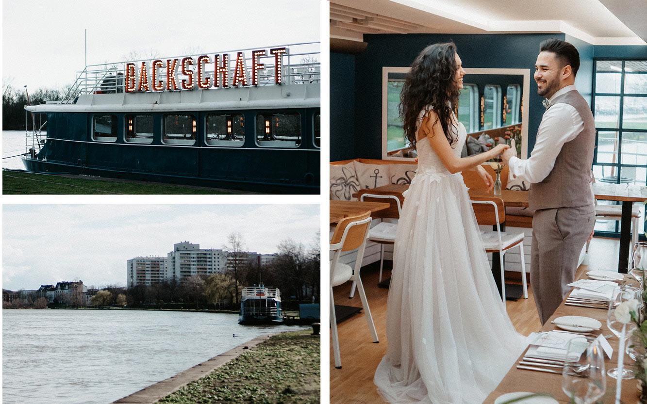Kleine Hochzeit auf einem Hausboot Brautpaar