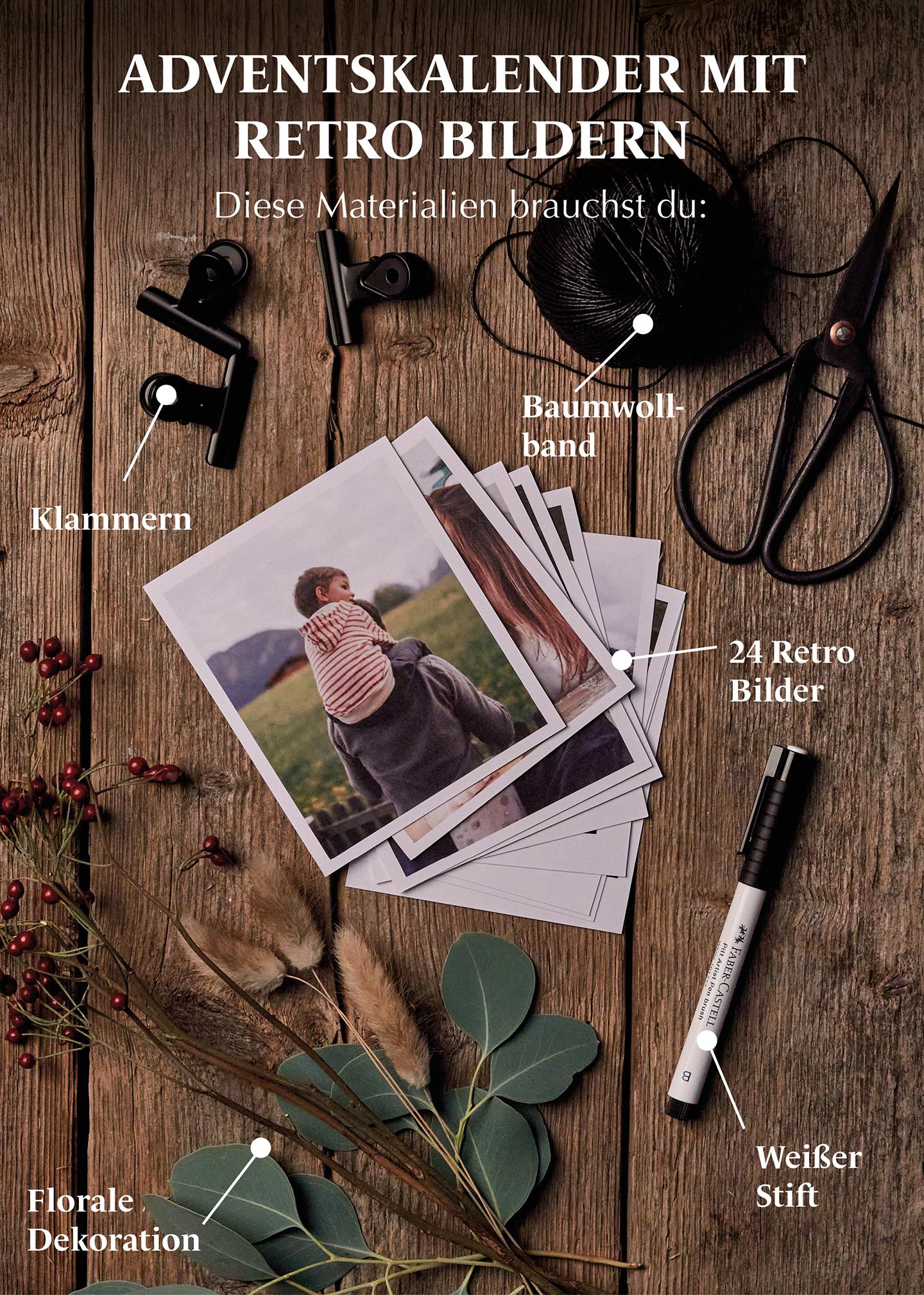 Adventskalender mit Retro-Bildern selber basteln: Schere, Baumwollband & Klammern.
