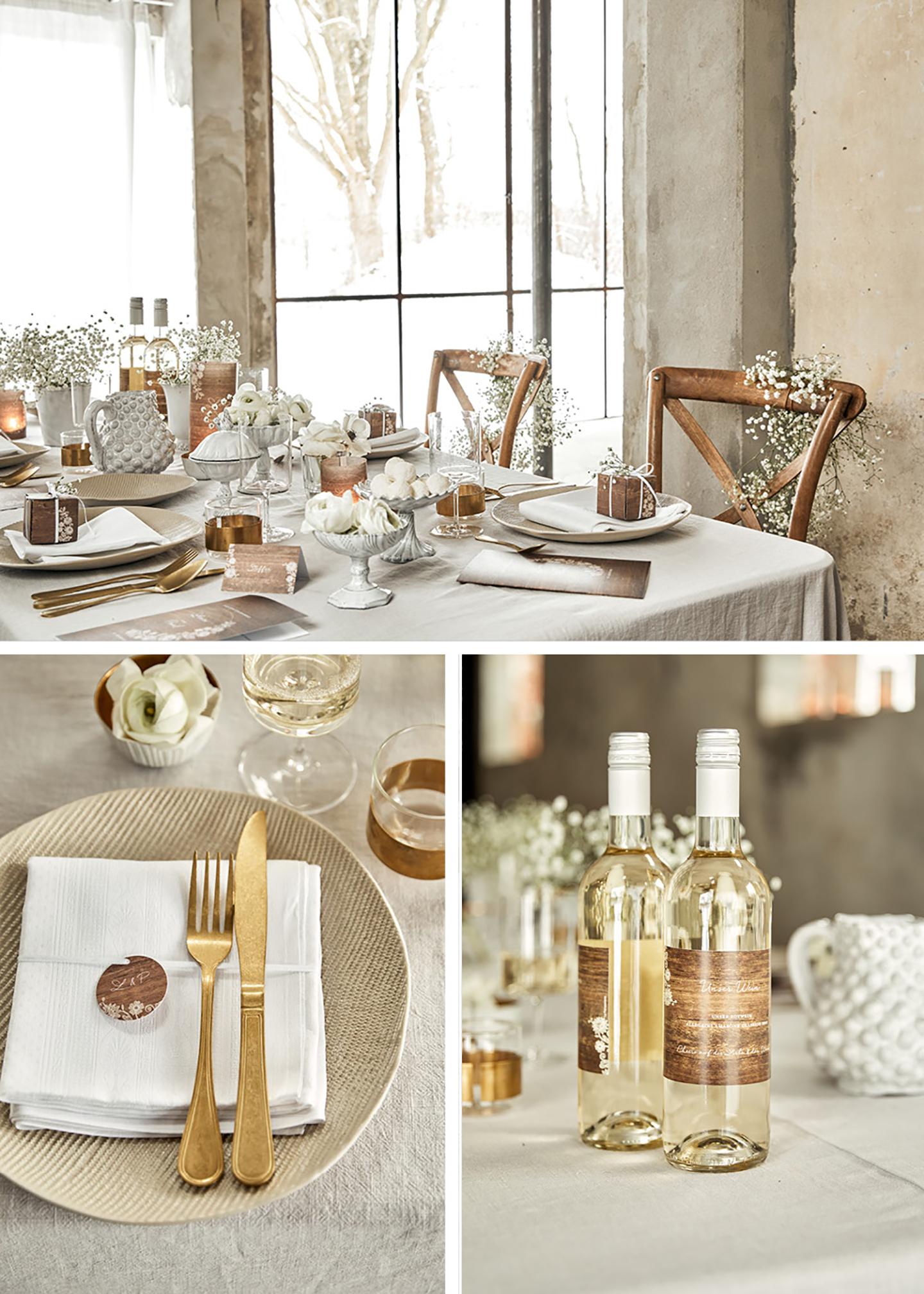 Hochzeitstisch komplett angerichtet, im Vintage-Shabby Look mit Schleierkraut, weißen Deko-Elementen und goldenem Besteck.