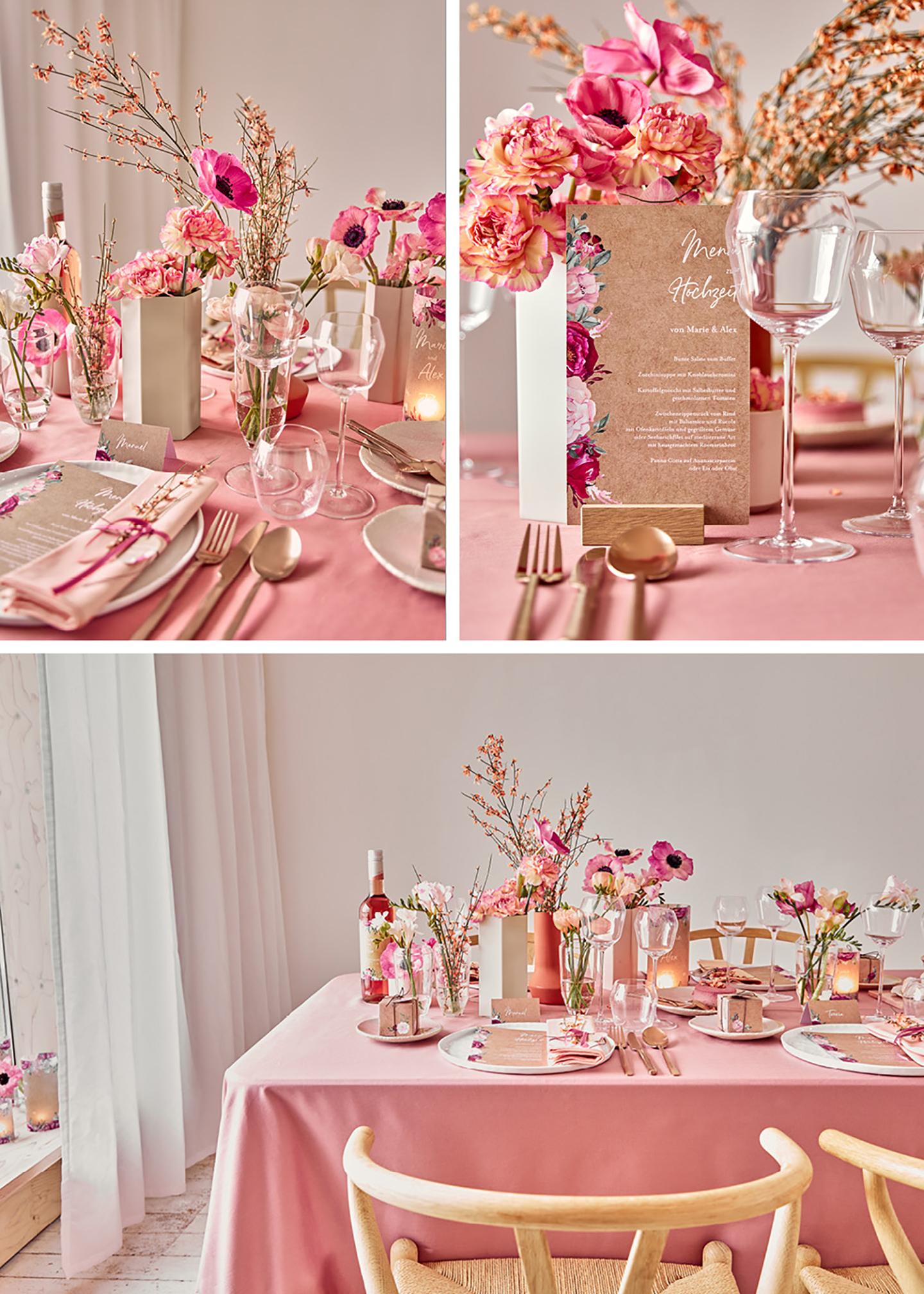 Tischdeko Hochzeit: Liebevoll angerichteter Hochzeitstisch mit Blumen, Geschirr und Papeterie, farblich aufeinander abgestimmt: die soften und leuchtenden Pinktöne sehen schön zusammen aus.