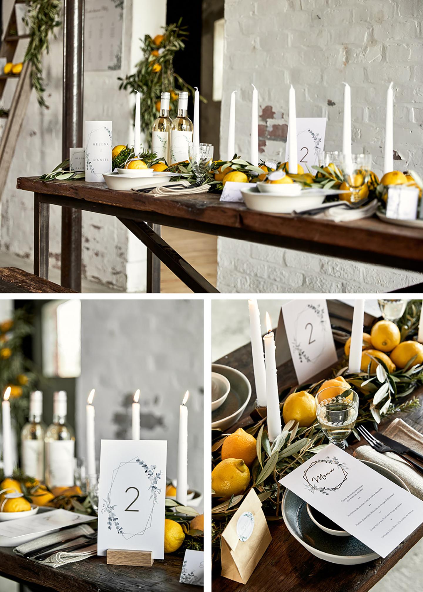 Zitronen auf dem Hochzeitstisch schmücken die gedeckte Hochzeitstafel im rustikalen Stil.