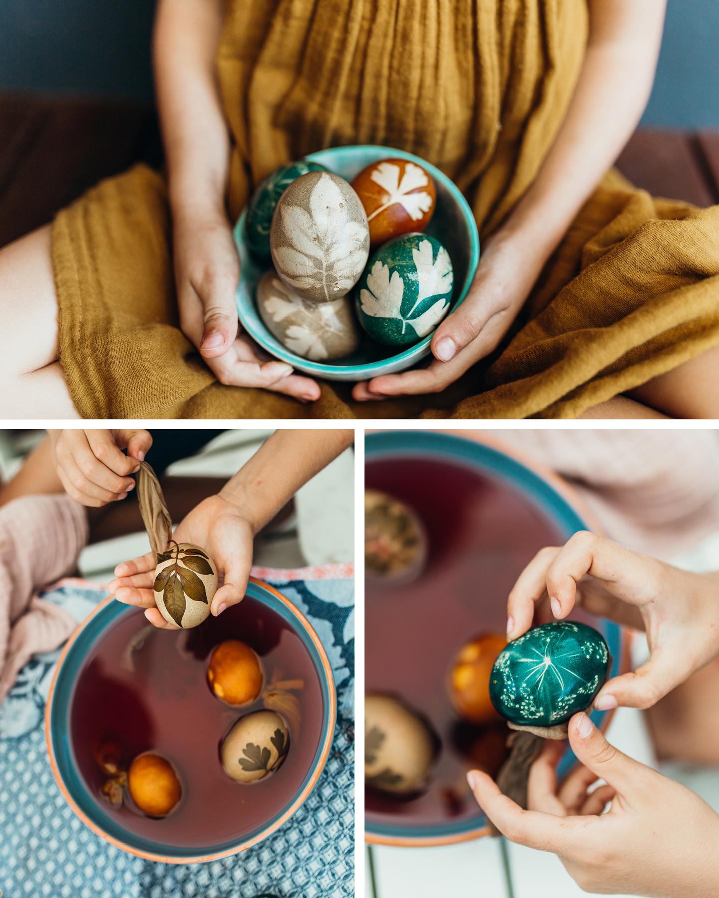 Osteier werden mit natürlichen Farben in Orange & Blau eingefärbt zu Ostern.