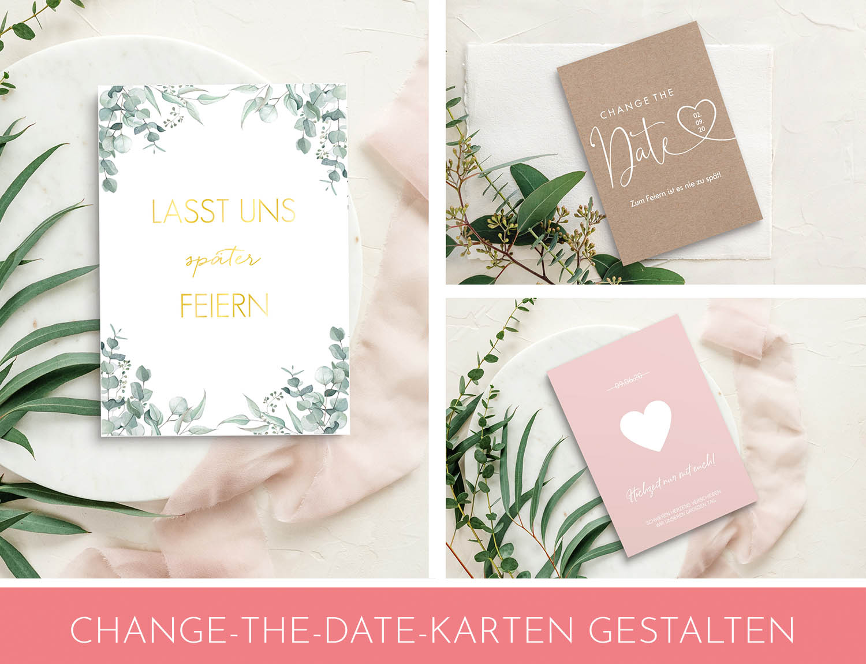 Change the Date Karten verkünden den Hochzeitsgästen das neue Hochzeitsdatum.