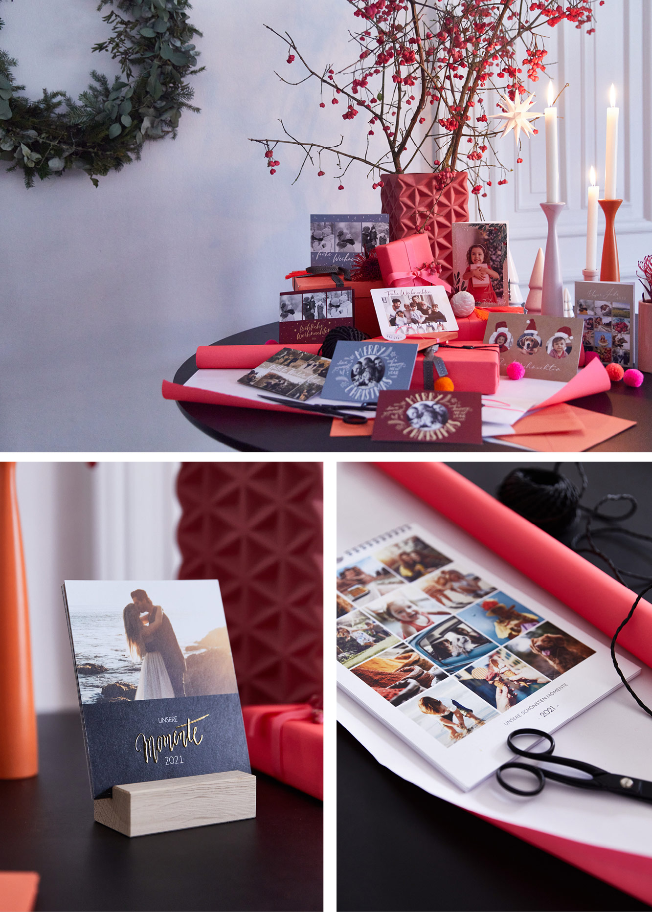 Weihnachtstisch, Weihnachtsgeschenke, selbstgemachte Fotokalender