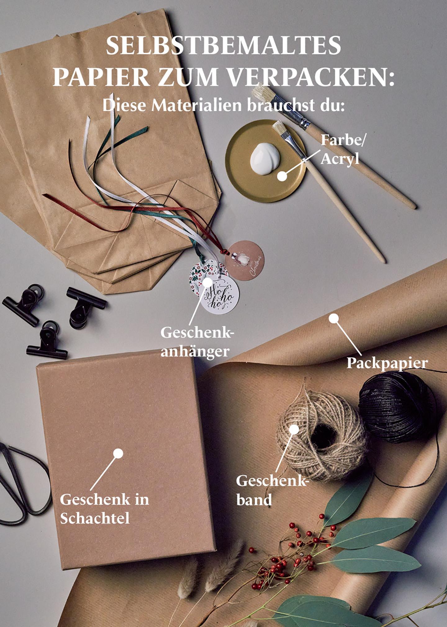 DIY Geschenkpapier selbstbemalen: Anleitung, Materialien erklärt
