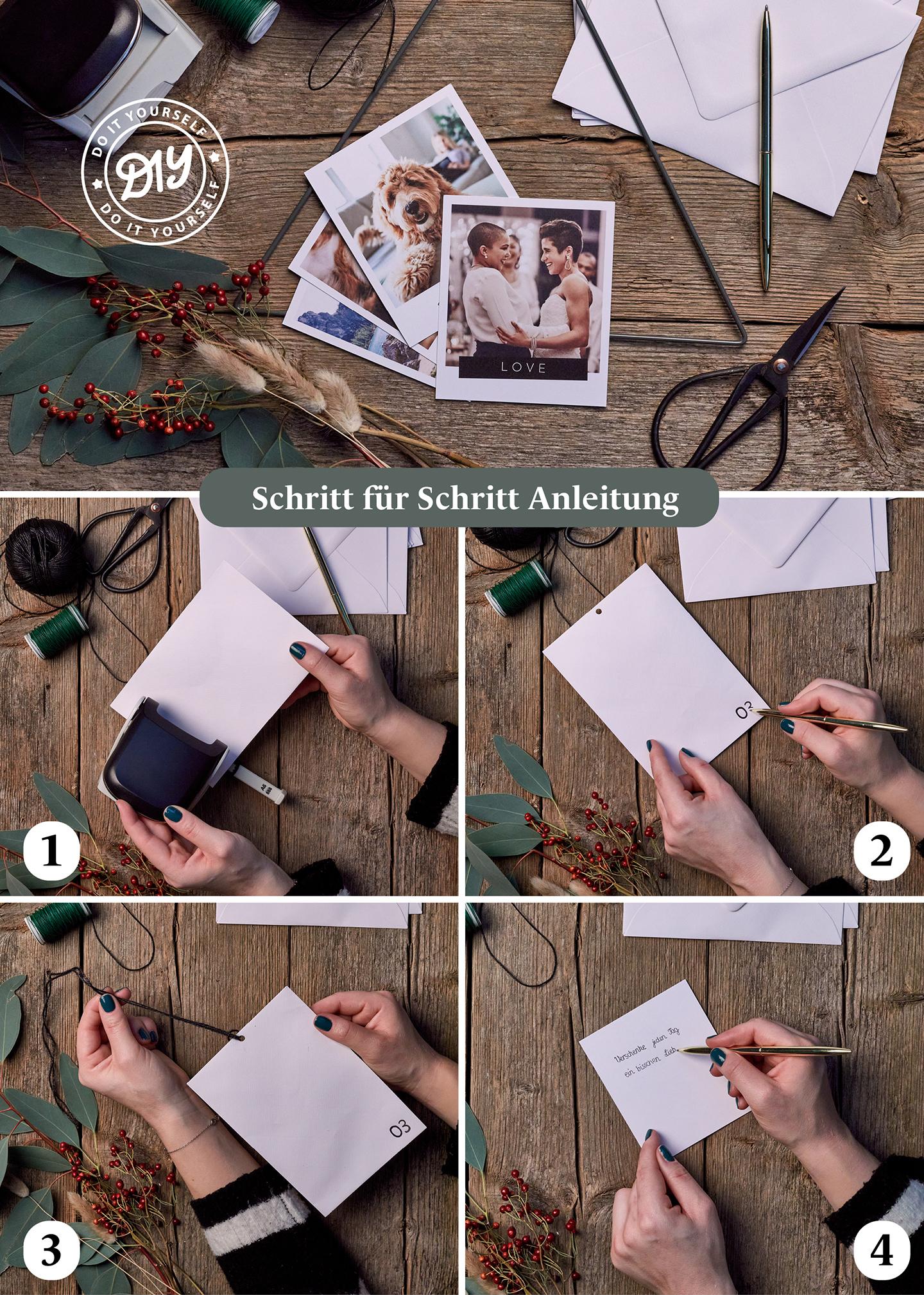 Schritt für Schritt Anleitung für Adventskalender selber basteln auf Holzuntergrund mit Retro-Bildern