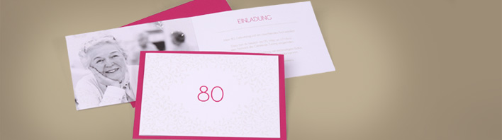einladung zum 80. geburtstag selbst gestalten und drucken, Einladungsentwurf